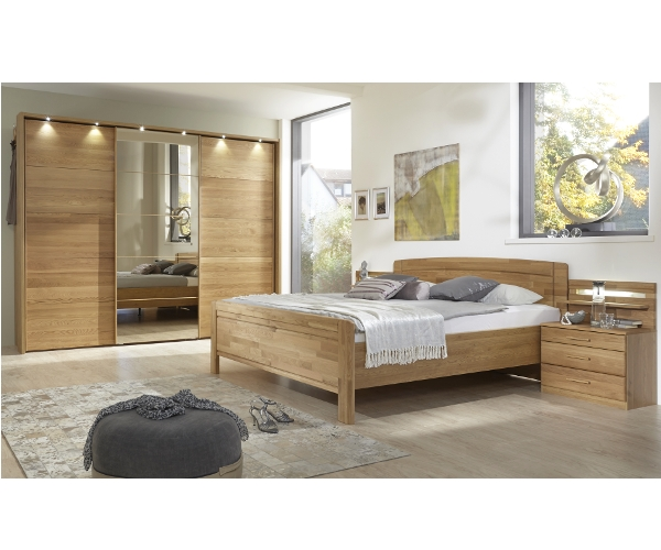 schlafzimmer steyr eiche natur teilmassiv inkl kleiderschrank nachtkommoden und bettanlage. Black Bedroom Furniture Sets. Home Design Ideas