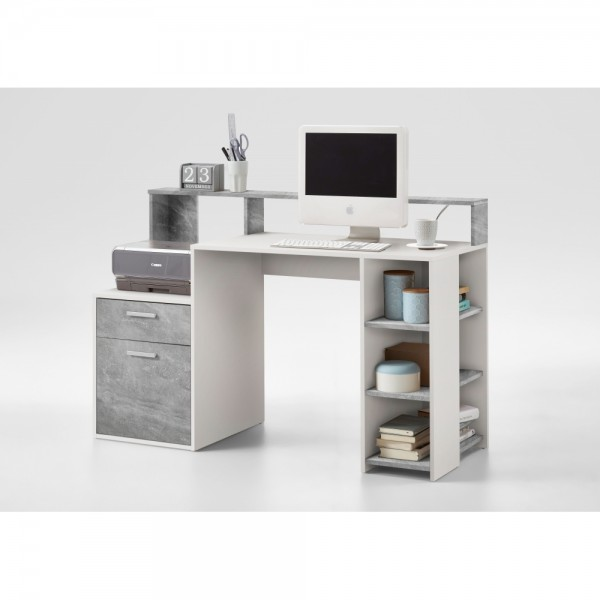 Büromöbel weiß grau  3006-001 BOLTON Beton grau Nb. / weiß Schreibtisch PC - Tisch ...