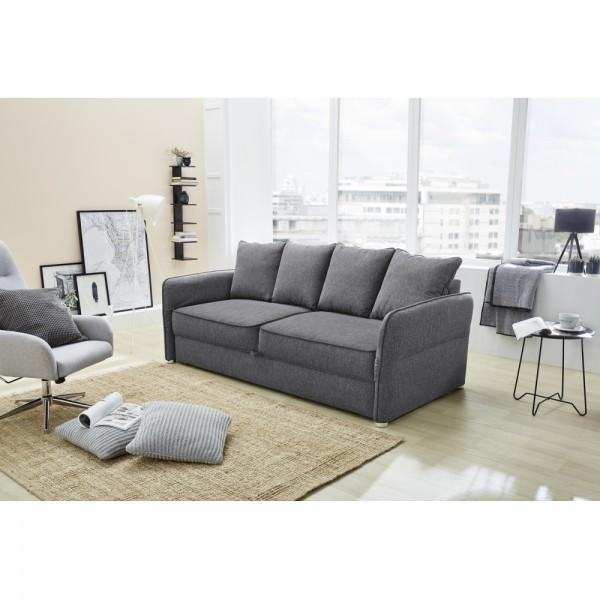 Schlafsofa Bettfunktion Jugendsofa Couch 3 Sitzer Kuschelsofa Lenny 414 09 Grau Ca 210 Cm