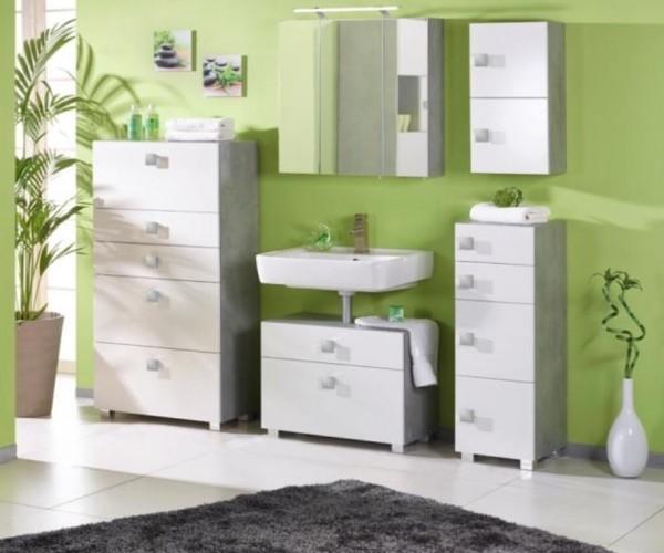 komplettes badezimmer bad quadra wei grau 5teilig set 127617 700748 127612 127605. Black Bedroom Furniture Sets. Home Design Ideas