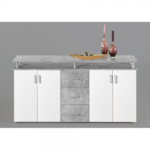 4Lift Beton grau / Türen weiß Kommode Sideboard Beistellkommode 180 cm
