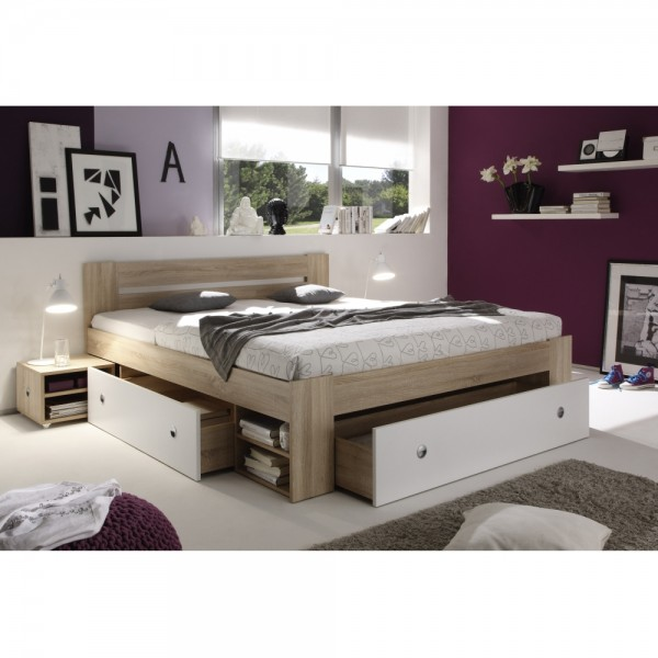 50 021 68 stefan eiche sonoma s gerau wei bett jugendbett kastenbett einzelbett doppelbett. Black Bedroom Furniture Sets. Home Design Ideas