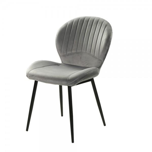 Stuhl Vierfussstuhl Esszimmerstuhl Kuchenstuhl Sessel 6002491 Daisy Grau Samt