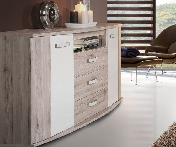 rdik 231b t30 rondino sandeiche nb hochglanz weiss kommode sideboard ca 170 cm inkl led. Black Bedroom Furniture Sets. Home Design Ideas