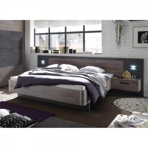 22 510 N9 Palma Havel Eiche Nb Betonoxid Grau Bett Doppelbett