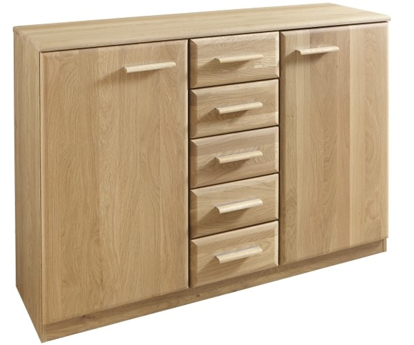 261 419 em steyr kommode in eiche natur teilmassiv sideboard mit 2 t ren und 5 schubladen ca. Black Bedroom Furniture Sets. Home Design Ideas