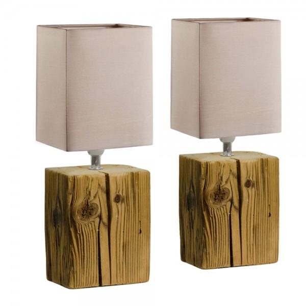 2er SET HOLZI braun Altholz Leuchte Tisc #17110
