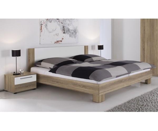 89 121 68 Martina Eiche Sagerau Nb Weiss Bettanlage Bett Doppelbett 180 X 200 Cm Inkl 2 Nachtkomm
