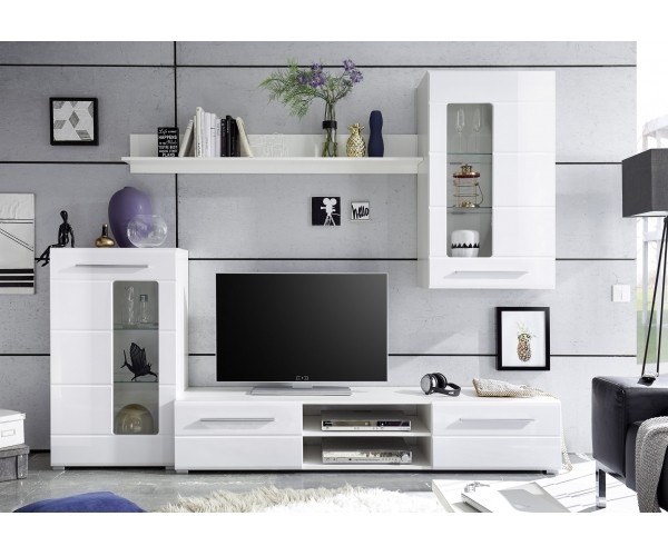 92 anauwand wohnwand wohnzimmerschrank pablo eiche antik nb weiss 256 cm breit wohnwand. Black Bedroom Furniture Sets. Home Design Ideas
