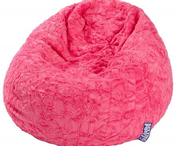 28260 Sitzsack L Pink Fluffy Sitzhocker  #7696