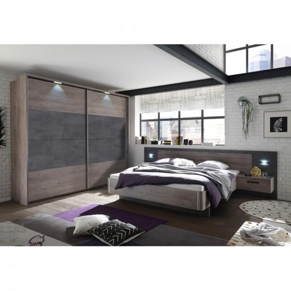 Schlafzimmer PALMA / BRÜSSEL Haveleiche Nb. / Betonoxid grau Nb. / inkl.  Kleiderschrank & Betta