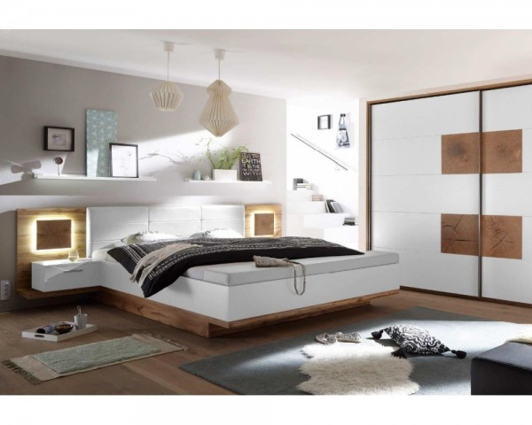 Schlafzimmer CAPRI Wildeiche Nb. / weiß inkl. Kleiderschrank & Bettanlage  inkl. Nachtkommoden