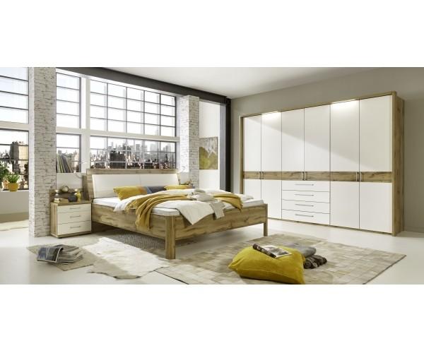 Padua Schlafzimmer SET in Balkeneiche Nachbildung, Absetzung in alpinweiß,  inkl. Kleiderschrank, Nac