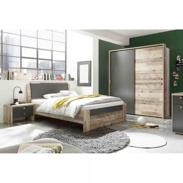 3er Set Jugendzimmer Merlin Kinderzimmer Mit Bett Nachtkommode Und Schwebetürenschrank