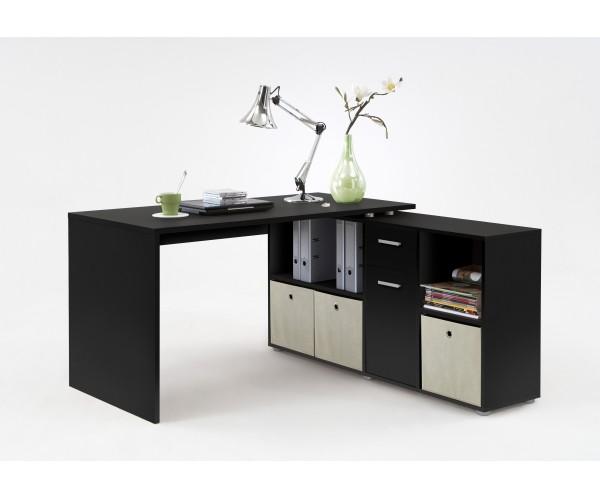 353 001 lex schwarz schreibtisch b rotisch b ro winkelkombination fmd schreibtische. Black Bedroom Furniture Sets. Home Design Ideas