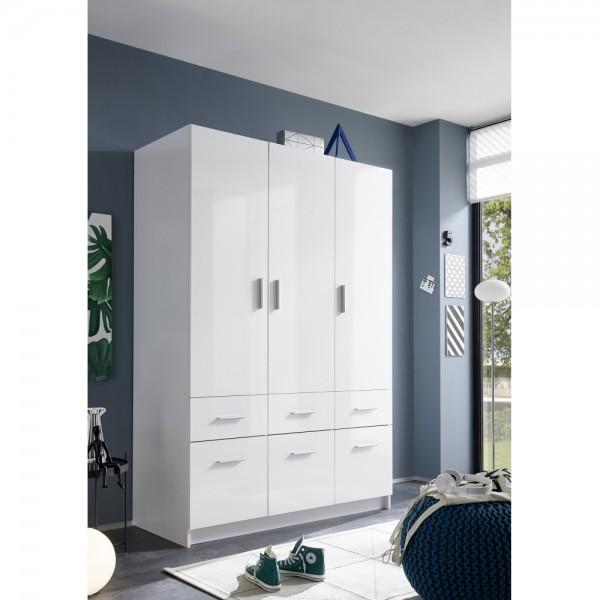 58 813 13 hagen 3 wei hochglanz kleiderschrank jugendzimmerschrank stauraumschrank ca 135 cm. Black Bedroom Furniture Sets. Home Design Ideas