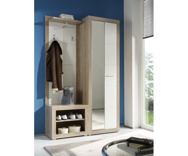 86 650 68 cancan 2 eiche s gerau nb weiss garderobe diele garderobenschrank kleiderpaneel s. Black Bedroom Furniture Sets. Home Design Ideas