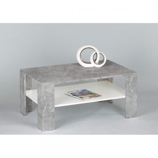 83-442-D5 JOKER Beton grau Nb. / weiß matt Couchtisch Beistelltisch  Wohnzimmertisch ca. 100 x 44 x 6