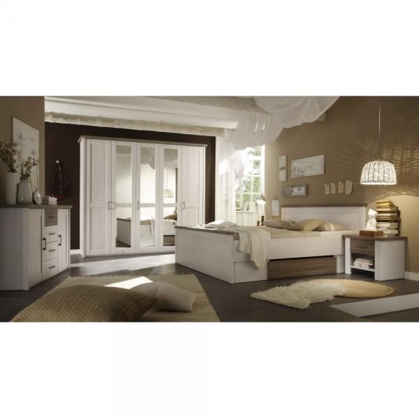 Schlafzimmer inkl. Kleiderschrank, Doppelbett & Nako´s im Set Pinie ...