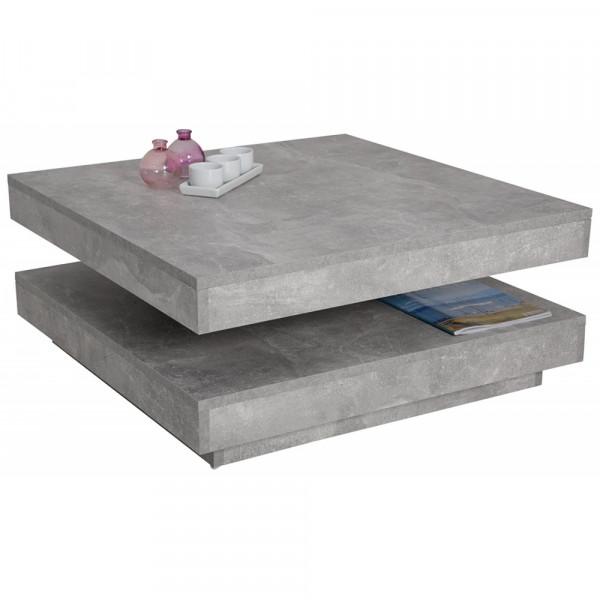 004408 BEN Beton grau Nb. Dekor Couchtisch Wohnzimmertisch Beisteilltisch  Funktion drehbar Hela / Ap