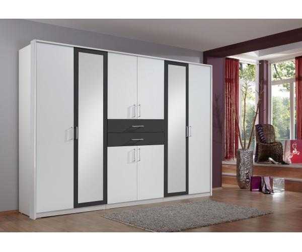 548450 Diver Weiß / Schwarz Kleiderschrank Stauraumschrank