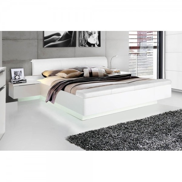 stpl183 c87 starlet 180 x 200 wei hochglanz bett doppelbett ehebett nachtkommoden inkl fussb. Black Bedroom Furniture Sets. Home Design Ideas