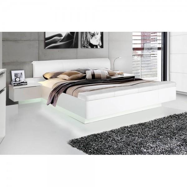STPL183-C87 Starlet 180 x 200 Weiß Hochglanz Bett Doppelbett Ehebett &  Nachtkommoden inkl. Fussb