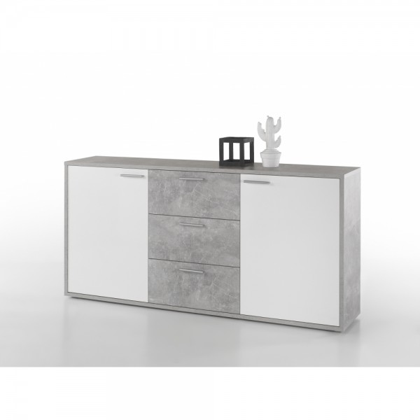 44 300 D5 Mountain Beton Grau Hg Weiß Highboard Kommode Sideboard
