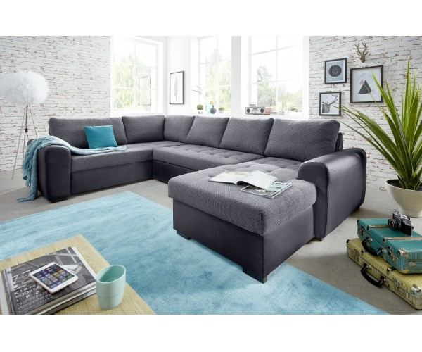 molly 3s 2f rec bk grau couchgarnitur sofa wohnzimmercouch ecksofa u form 206x312x157 cm. Black Bedroom Furniture Sets. Home Design Ideas