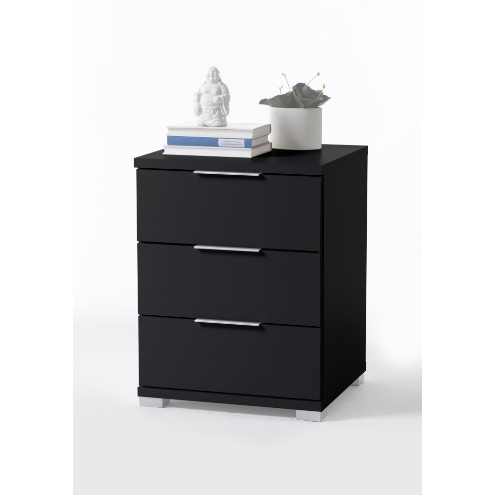 nachtkommode nachtkonsole nako schwarz 3 laden f r boxspringbetten und betten 61 cm hoch. Black Bedroom Furniture Sets. Home Design Ideas