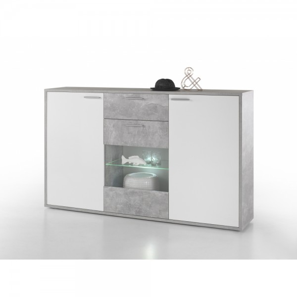 45 300 D5 Mountain Beton Grau Hg Weiss Highboard Kommode Sideboard