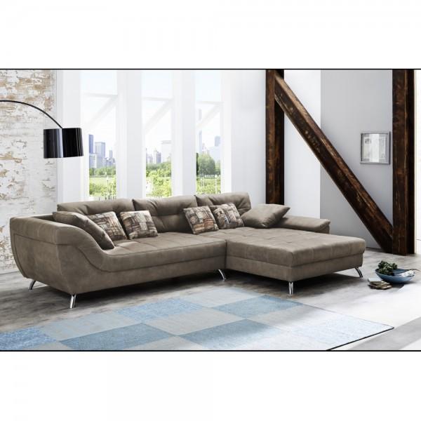 469 08 552 08 San Francisco Microfaser Braun Couchgarnitur Couch Sofa Wohnzimmercouch Ca 358