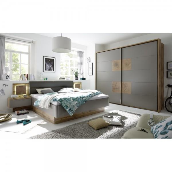 Schlafzimmer CAPRI Wildeiche grau basaltgrau inkl. Kleiderschrank ...